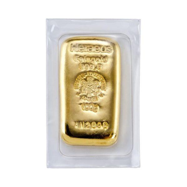 100 gram gegoten goudbaar Heraeus