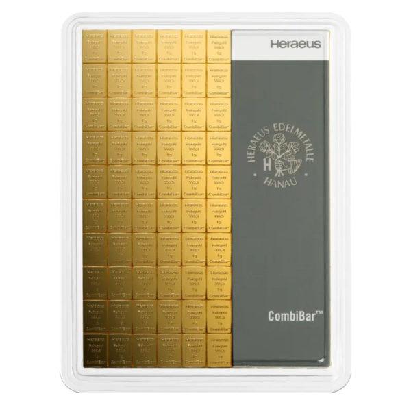 100 x 1 gram goudbaar plaat Heraeus