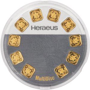 10 x 1 gram goudbaar Multidisc Heraeus