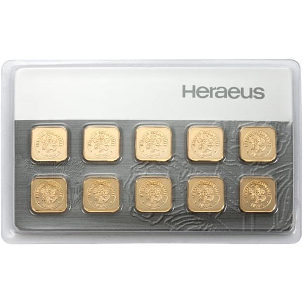 10 x 1 gram goudbaar Multicard Heraeus