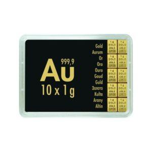 10 x 1 gram goudbaar plaat Valcambi