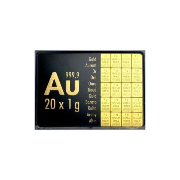 20 x 1 gram goudbaar plaat Valcambi