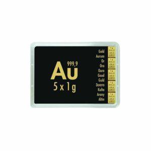 5 x 1 gram goudbaar plaat Valcambi