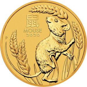 1/20 oz Australian Lunar III Mouse goud (2020)