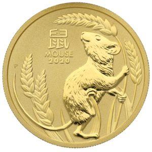 1 oz Australian Lunar III Mouse goud (2020)