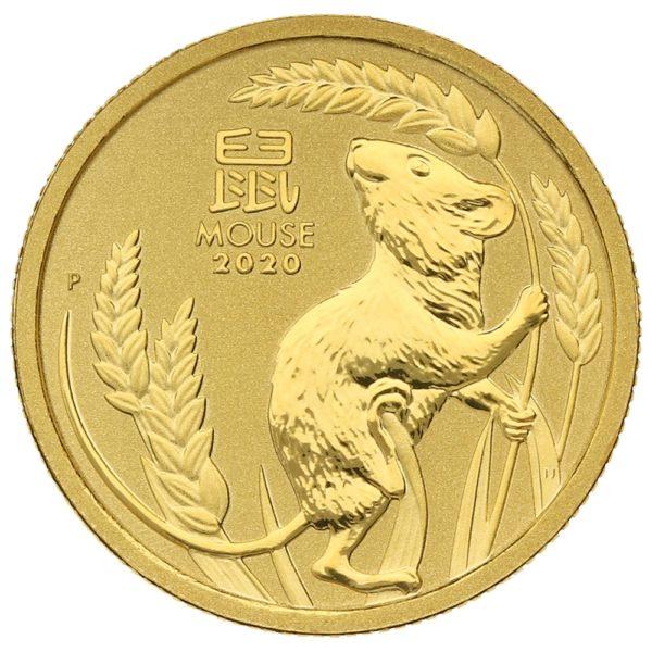 1/10 oz Australian Lunar III Mouse goud (2020)