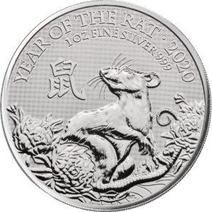 1 oz Lunar UK Rat zilver (2020)