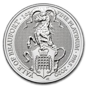 1 oz Queens Beasts Yale platina (2020)