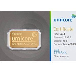 10 gram goudbaar Umicore