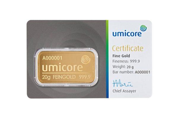 20 gram goudbaar Umicore