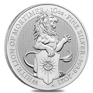 10 oz Queens Beasts White Lion zilver (2021)