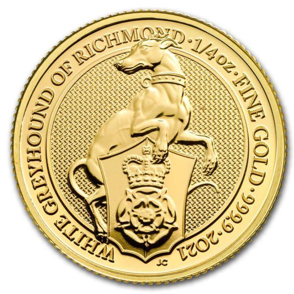 1/4 oz Queens Beasts White Greyhound goud (2021)