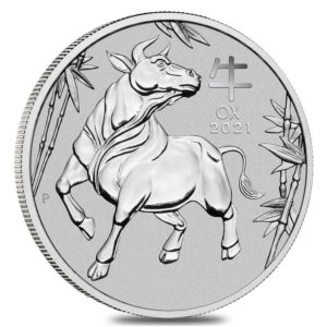1 oz Australian Lunar III Ox platina (2021)
