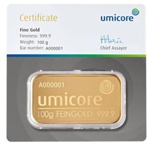 100 gram goudbaar Umicore