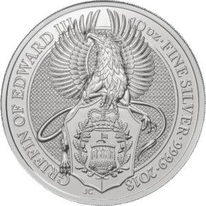10 oz Queens Beasts Griffin zilver (2018)