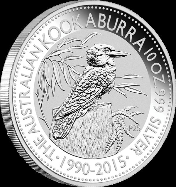 10 oz Australian Kookaburra zilver (2015)